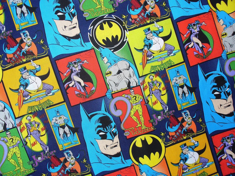 Batman Collage Fabric / Joker Riddler The Penguin Catwoman