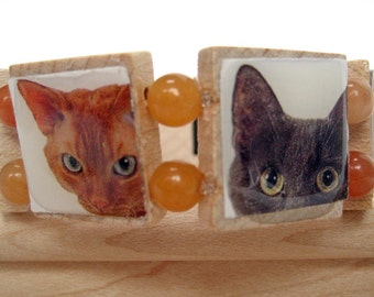 Curious Kitty Bracelet -- Upcycled Scrabble Tile Bracelet with Cropped Photos of Cat Faces, Orange Beads