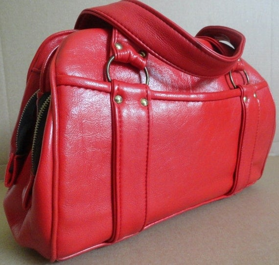 Vintage Handbag/Cherry Bomb Red/Tote/Diaper Bag/Doctor Satchel