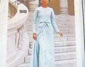 Women's Nina Ricci Bow Trimmed Evening Over Dress, Skirt and Pants - Vintage 1960s Vogue Paris Original Sewing Pattern 1940 - Bust 34
