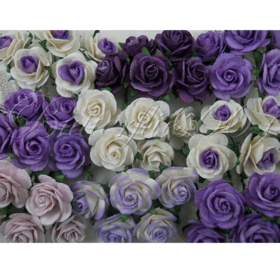 50 Mixed Purple Mullbery Paper Wedding Flowers  Mixed-Pur
