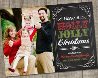 Holly Jolly Chalkboard, Holiday Photo Card, Christmas Photo Cards PRINTABLE, Christmas Photo Cards Digital, Christmas Photo Card Download