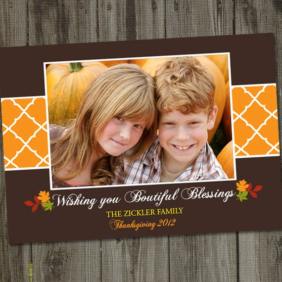 Bountiful Blessings Happy Thanksgiving Happy Fall Printable Holiday Photo Card