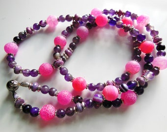 Roses button on purple gemstone Necklace  370