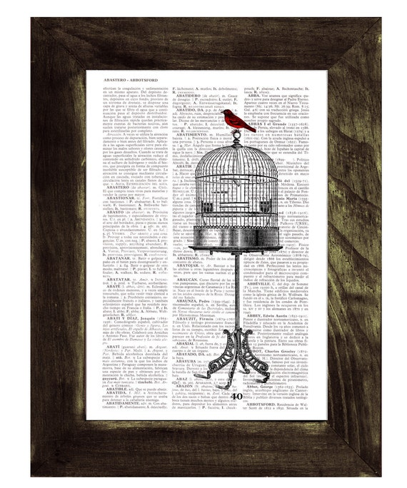 Spring Sale Vintage Cage and  Sparrow printed on Vintage Book altered art printed on  dictionary page BPAN197
