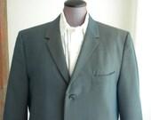 Early 60s Jacket / Iridescent Blue Gold Mens Blazer / Size 40 Jacket / Narrow Lapels