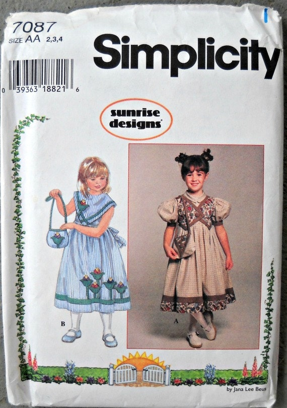 Simplicity 7087 Girl's Dress and Purse Pattern, Sizes 2, 3, 4