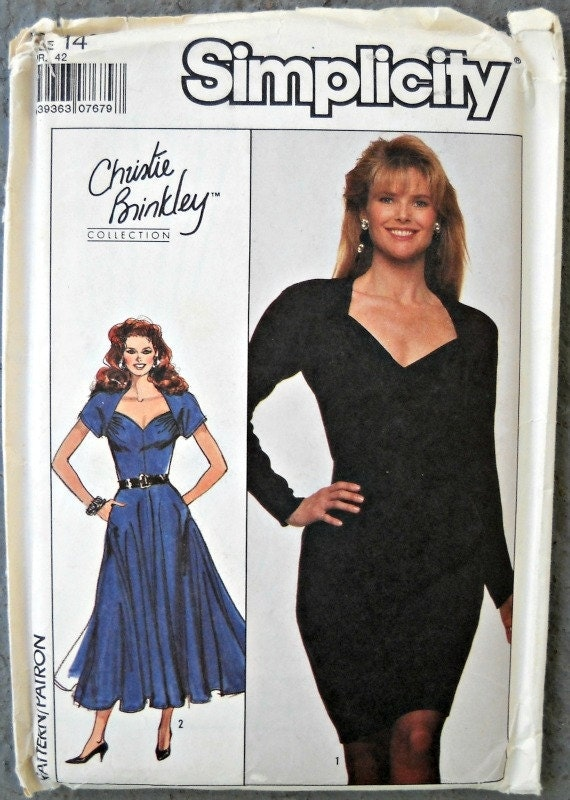 Simplicity 8905, Christie Brinkley Collection, Misses Dress, Size 14, Vintage 1988
