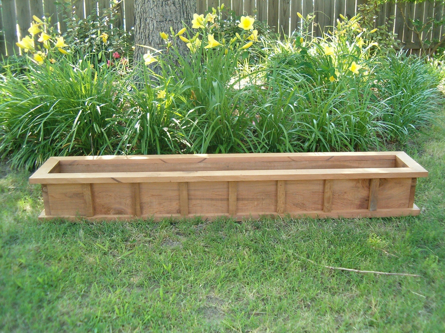 42 window box cypress wooden planter flower new wood for Wooden garden box designs