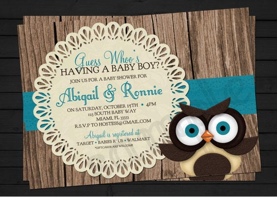 Rustic Owl Baby Shower Invitation Digital File YOU-PRINT