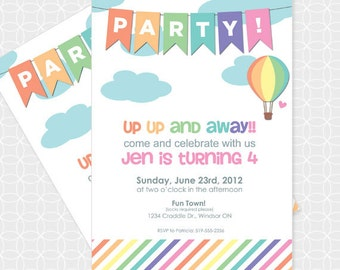 Air Balloon Party Invitation, Printable file, Personalized, hot air balloon