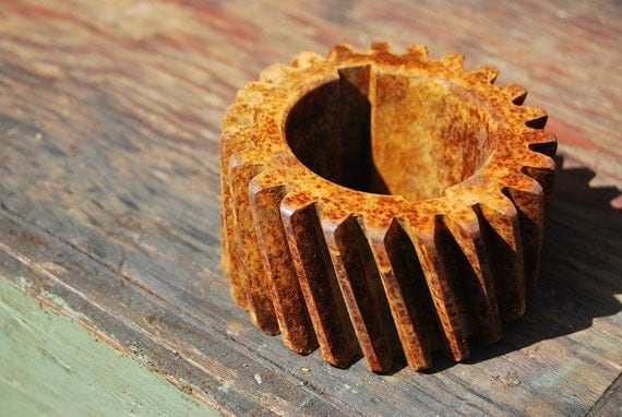 Angled-tooth gear, vintage industrial decor