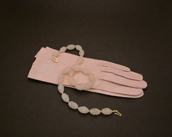 Frosted Rose Quartz & 14K Gold Filled Beads Necklace w 14K Gold Filled Clasp