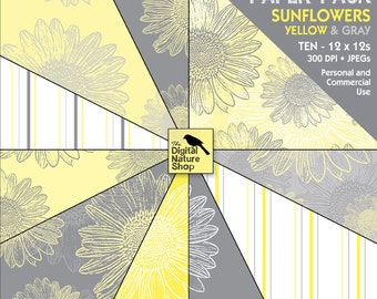 SUNFLOWERS - Gray and Yellow - INSTANT DOWNLOAD - Digital Paper Pack for Invites, Scrapbooking, Journaling, Cards, Collage, Crafts and More