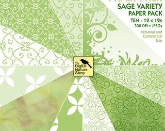 Green SAGE Digital Paper - INSTANT DOWNLOAD - for Cards, Scrapbooking, Journaling, Collage, Invites, Decoupage and More