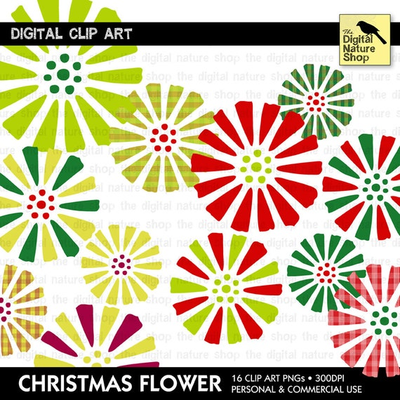 Christmas Flowers - 16 Piece Clip Art - INSTANT DOWNLOAD - for Invites, Crafts, Collage, Cards, Scrap Booking, Journaling and More