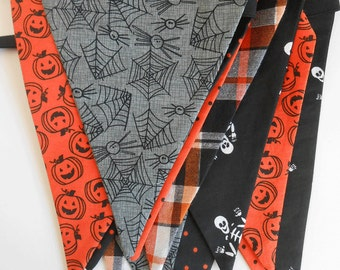 Halloween Banner with Grey Spiders  / Party Banner / Photo Prop / Orange, Black and Grey/ Halloween Bunting