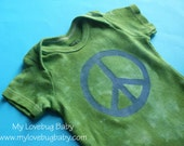 Blue Peace Sign Baby Onesie - Hand Dyed & Painted