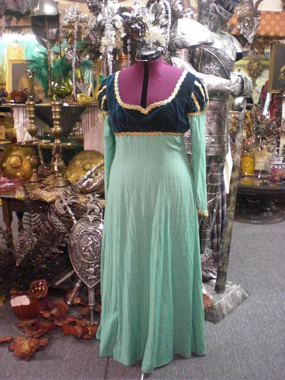Green Silk Medieval Dress