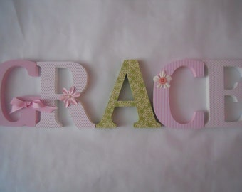 Wooden  letters for nursery in pink, white and green initials wall standup