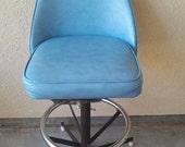 vintage modern swivel  mid century blue tulip bar stool Robins egg blue