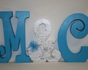 Blue wedding decor, 3 wood letters, Freestanding wood letters, Bride and groom, Monogram wedding sign, Wedding letters centerpiece