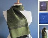 Pashmina, Printed dark Green Pashmina Scarf, Shawl, Wrap, bridal shawl, bridesmaids shawl, bridal gift