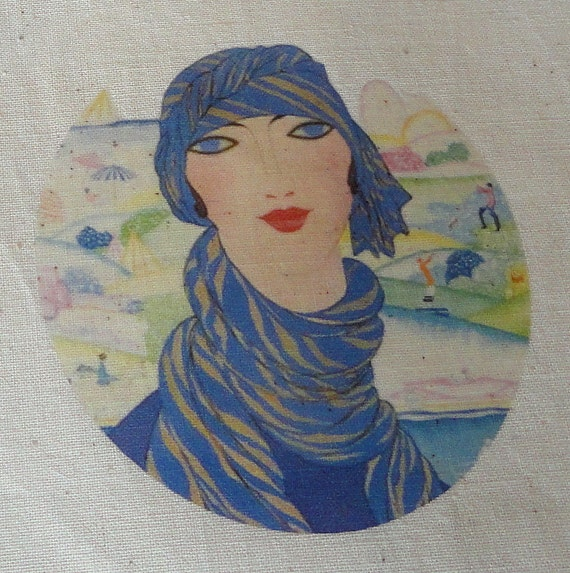 Muslin Gift Bag or Welcome Bag ART DECO Woman with Scarf XTRA Lg. Drawstring Bag perfect for Spa Day