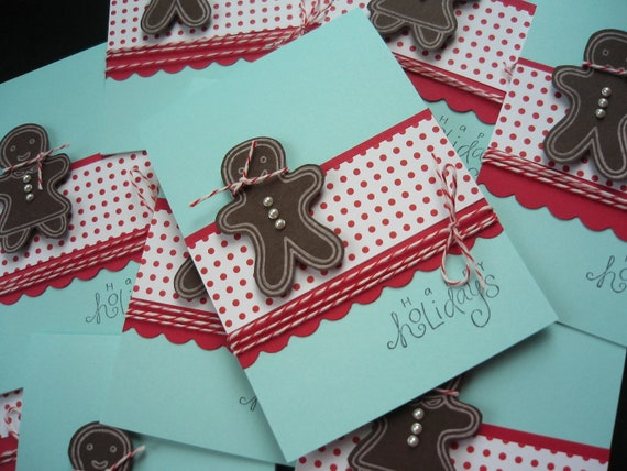 Reserved for Deidre: Handmade Gingerbread Cookie Holiday Cards Set of 4