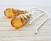 Hessonite Garnet Earrings, Golden Amber Garnet Gemstone Jewelry 14K Gold January Birthday January Birthstone