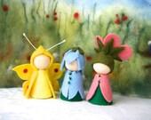 Summer 2. Set Dog rose, bell flower, brimstone butterfly / Flower dollWaldorf Inspired natural Table doll