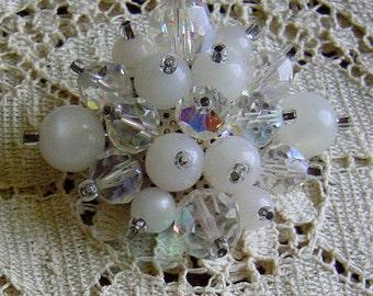 Vintage 1950s Crystal Beaded Large Brooch White Wedding Bridal Pin
