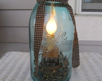 Antique Blue Ball 1/2 gallon night light