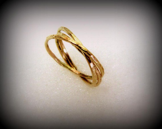 Skinny Trinity Love Ring - Cartier Rolling Ring  -  in 14K Solid Gold