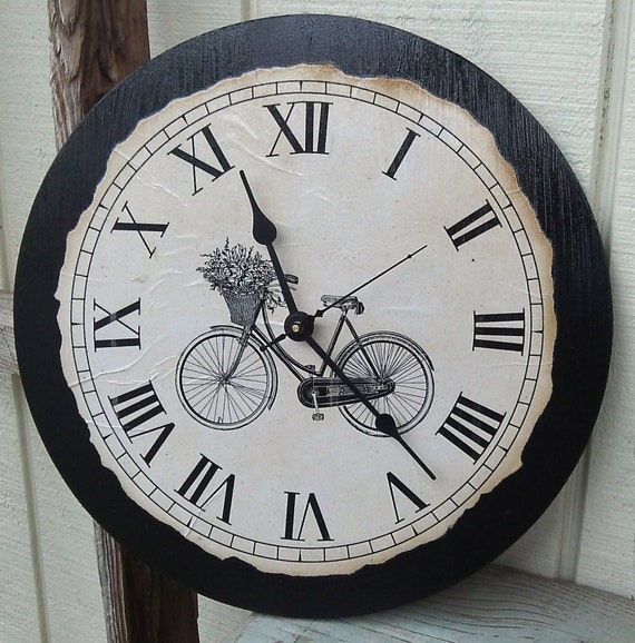 Vintage Country Style Clock with Bicycle