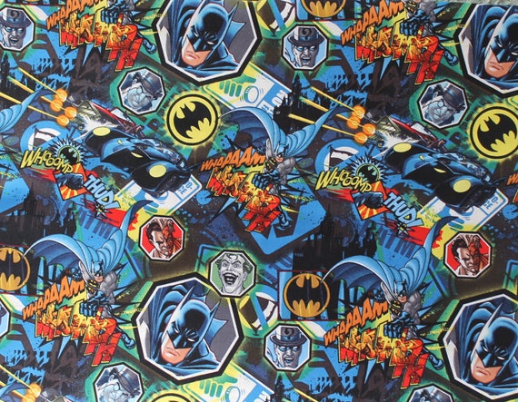 Battle Over Gotham Batman Fabric -  backpacks, child's bedding, costumes -  1 Yard