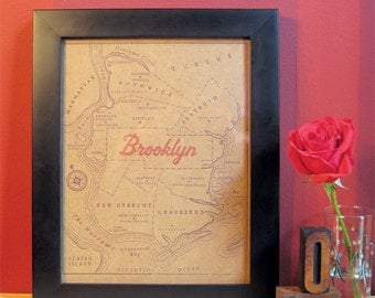 8 x 10 letterpress Brooklyn Map Print - Perfect for framing