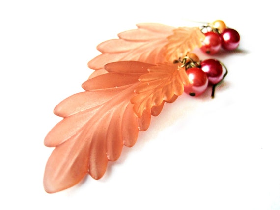 Peach, pink earrings - Leaf dangle earrings - VINTAGE parts - vintage lucite, vintage pearls - feathers, long - fall leaves, autumn jewelry