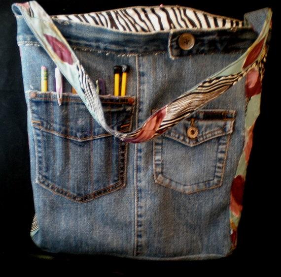 Denim Bookbag/Tote/Carryall/Craft bag