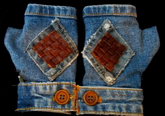 Denim and Leather Fingerless Gloves