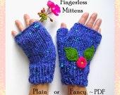 Fingerless Mitten Pattern - Knit 'Plain' or 'Fancy' in 4 Sizes, PDF 9 page pattern - Bonus Fancy Appliques included