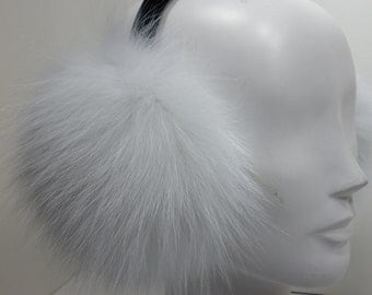 Real Brightened White Fox Fur Earmuffs new made in usa