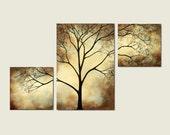 Tree Painting Sepia Cream, 42 x 24, Acrylic Large Custom Wall Art