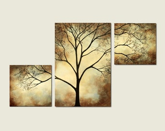 Tree Painting Sepia Cream, 42 x 24, Acrylic Large Custom Wall Art