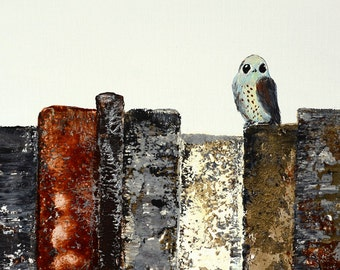 Sweet Owl Bird Print (8 x 10) Birds and Books series