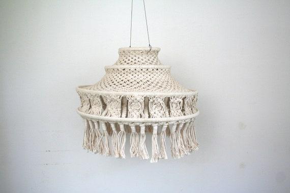 70s Macrame hanging lantern