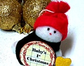 Colorful Snowman Ornament Baby's 1st Christmas