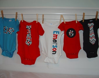 Boys Personalized Onesie Set, Perfect for Baby Shower Gift or Decoration - Celebration Dot and Chevron