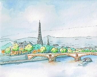 Paris painting -  La Seine landscape