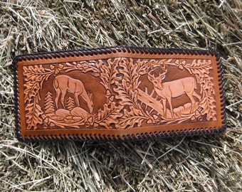 Mens Leather Wallet With Deer Scenes